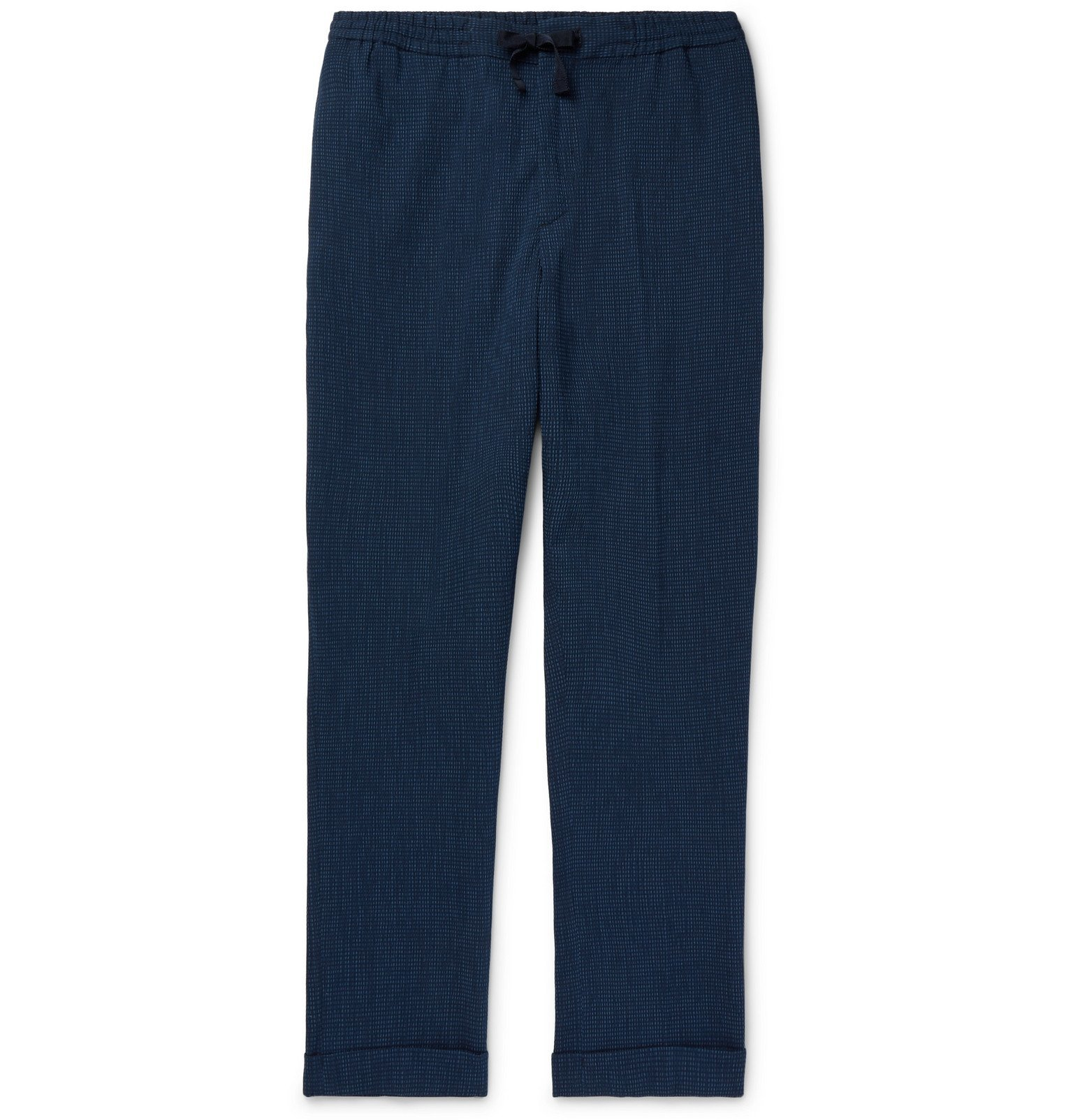 Officine Generale - Phil Checked Cotton-Blend Seersucker Drawstring Trousers - Blue