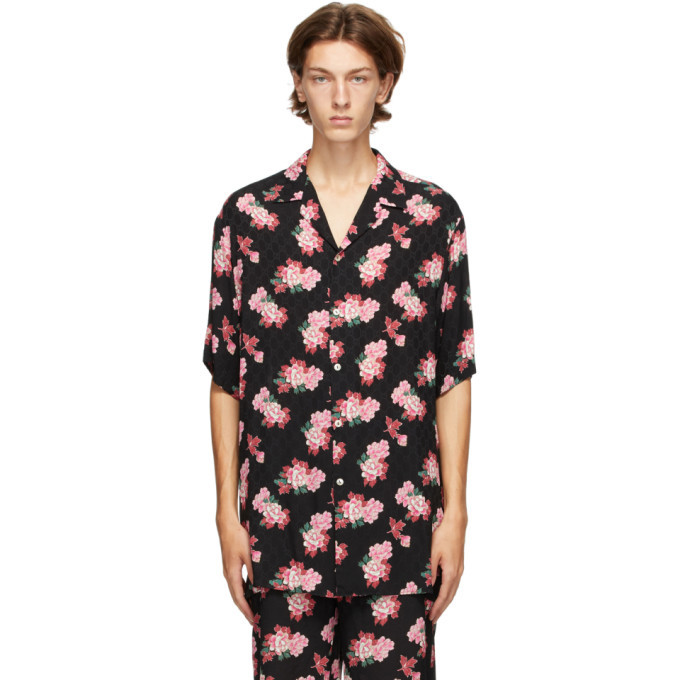 Photo: Gucci Black Silk Peony Print Bowling Shirt