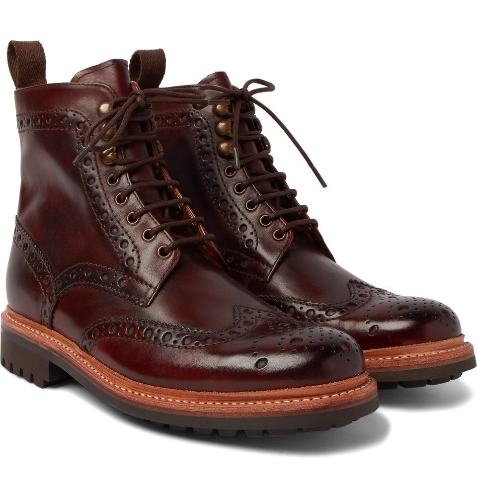 Photo: Grenson - Fred Burnished-Leather Brogue Boots - Men - Dark brown
