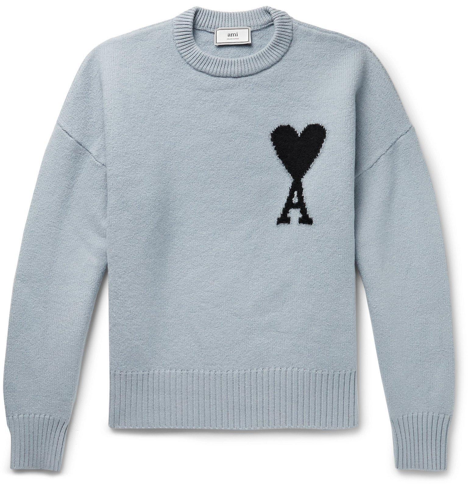 Photo: AMI - Oversized Logo-Intarsia Virgin Wool Sweater - Blue