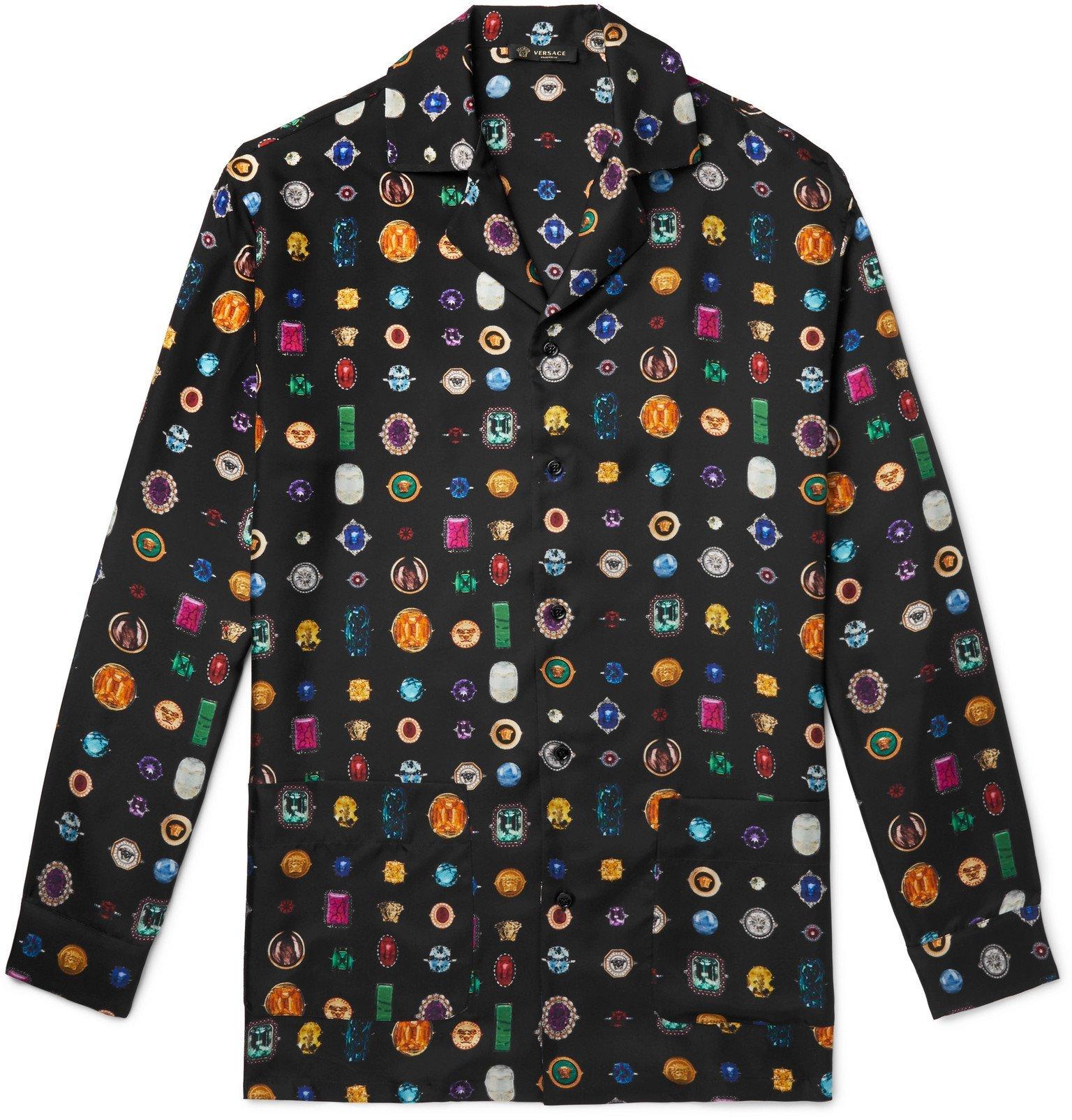 Versace - Printed Silk-Twill Pyjama Shirt - Black