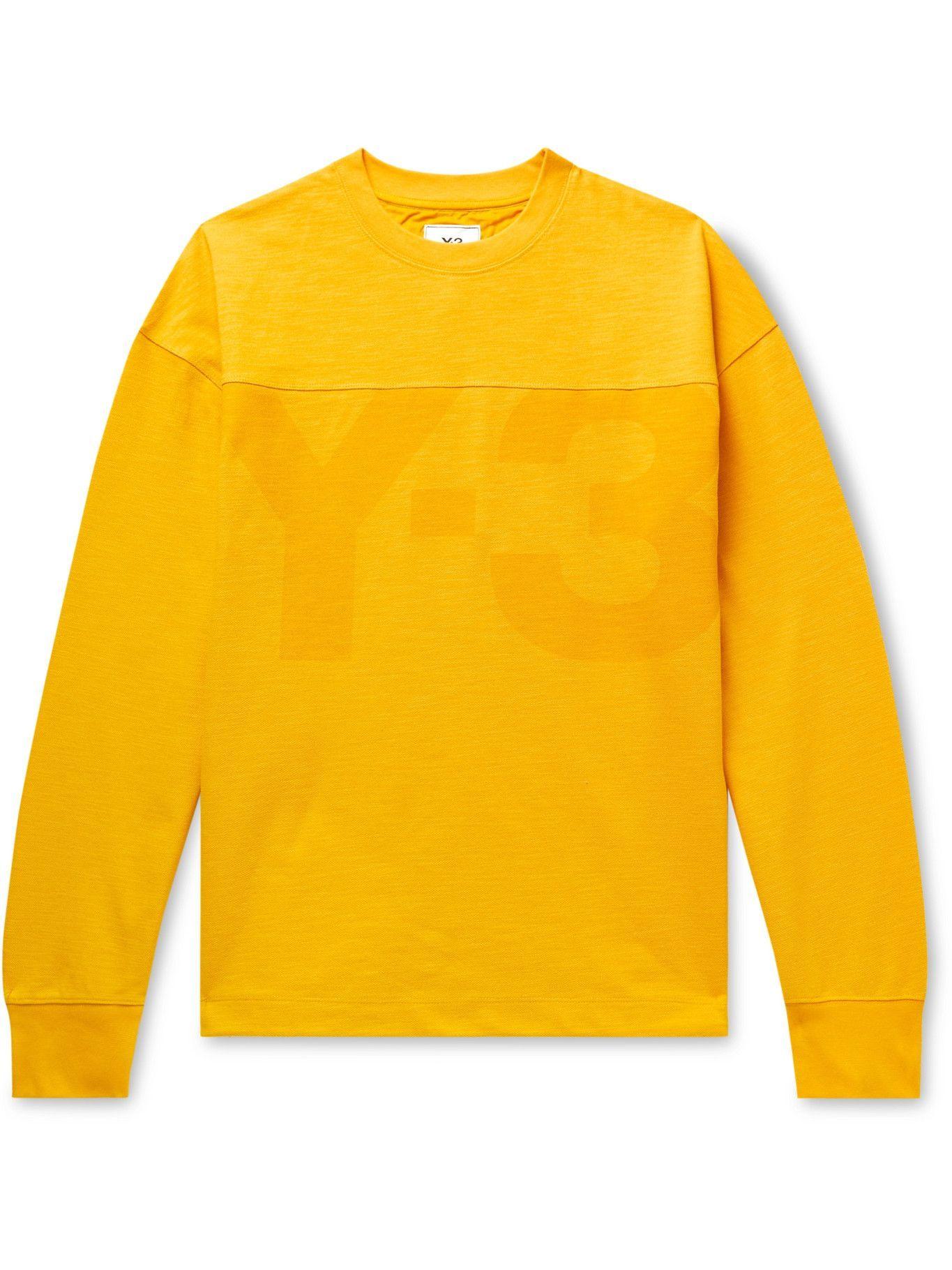 Photo: Y-3 - Oversized Logo-Print Cotton and Linen-Blend Piqué Sweatshirt - Yellow