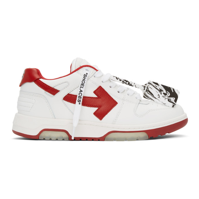 Photo: Off-White White and Red Out Of Office Sneakers