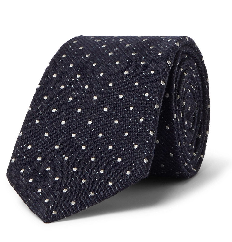 Photo: Canali - 8cm Polka-Dot Silk and Virgin Wool-Blend Tie - Navy
