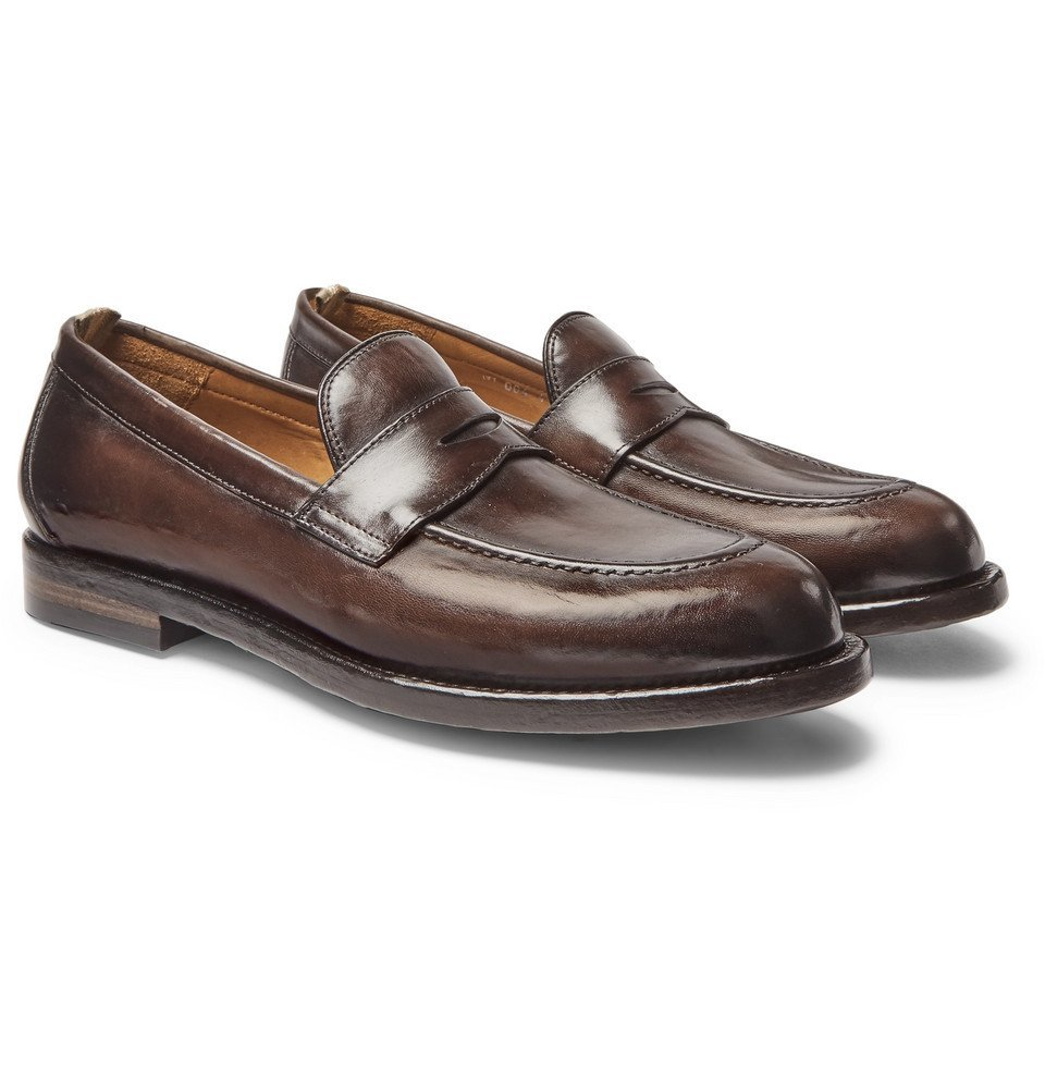 Photo: Officine Creative - Ivy Burnished-Leather Penny Loafers - Dark brown