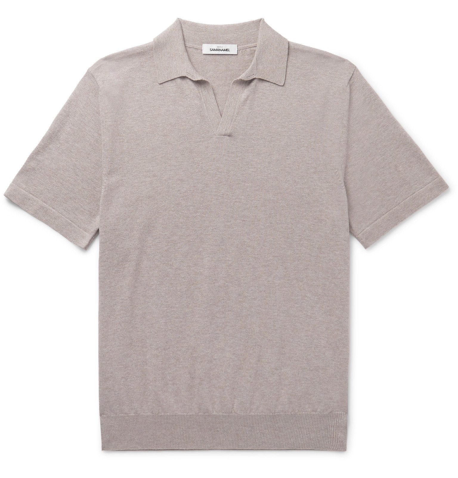 Photo: Saman Amel - Slim-Fit Cotton Polo Shirt - Brown