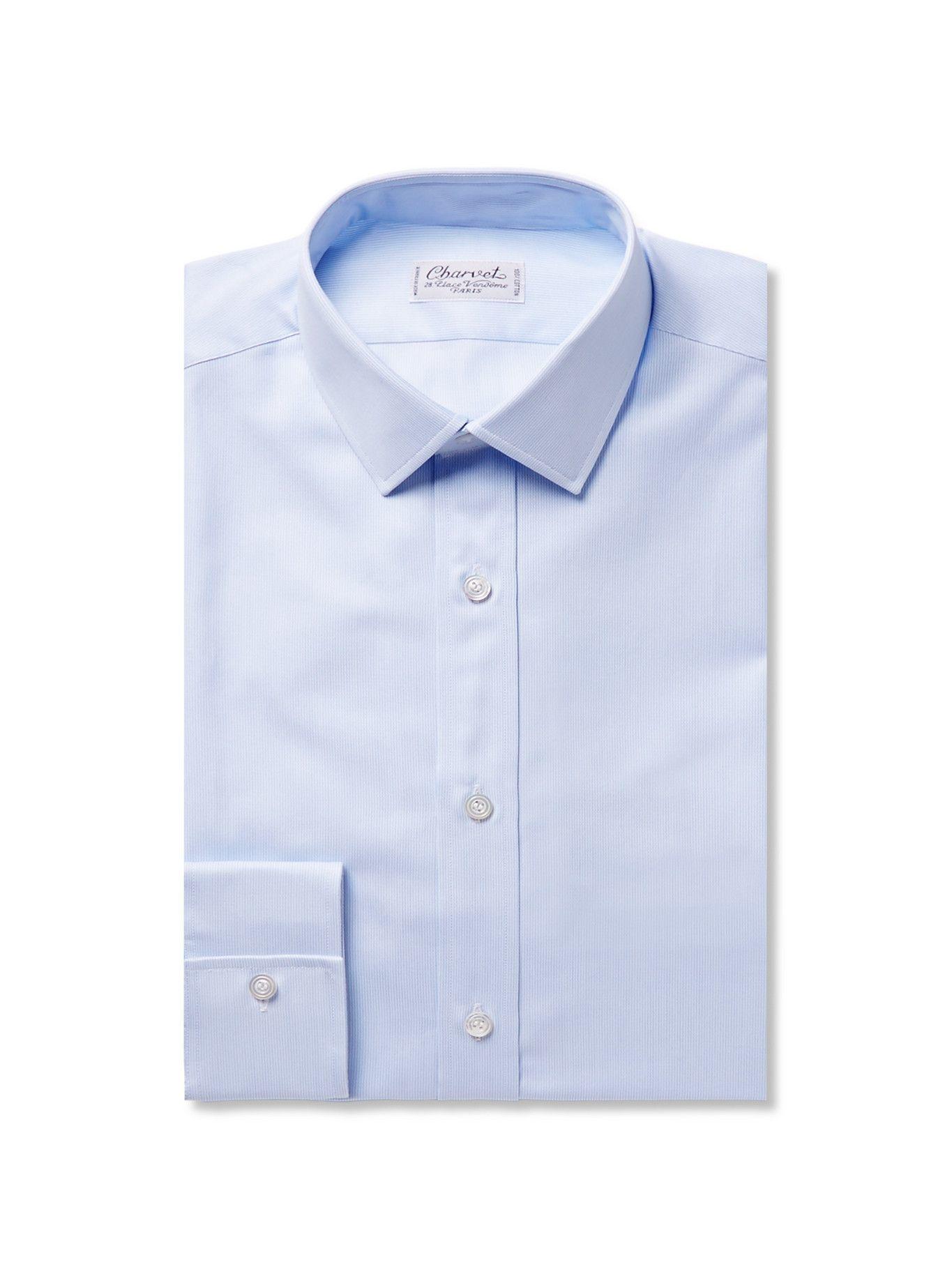 Photo: CHARVET - Blue Slim-Fit Striped Cotton Shirt - Blue