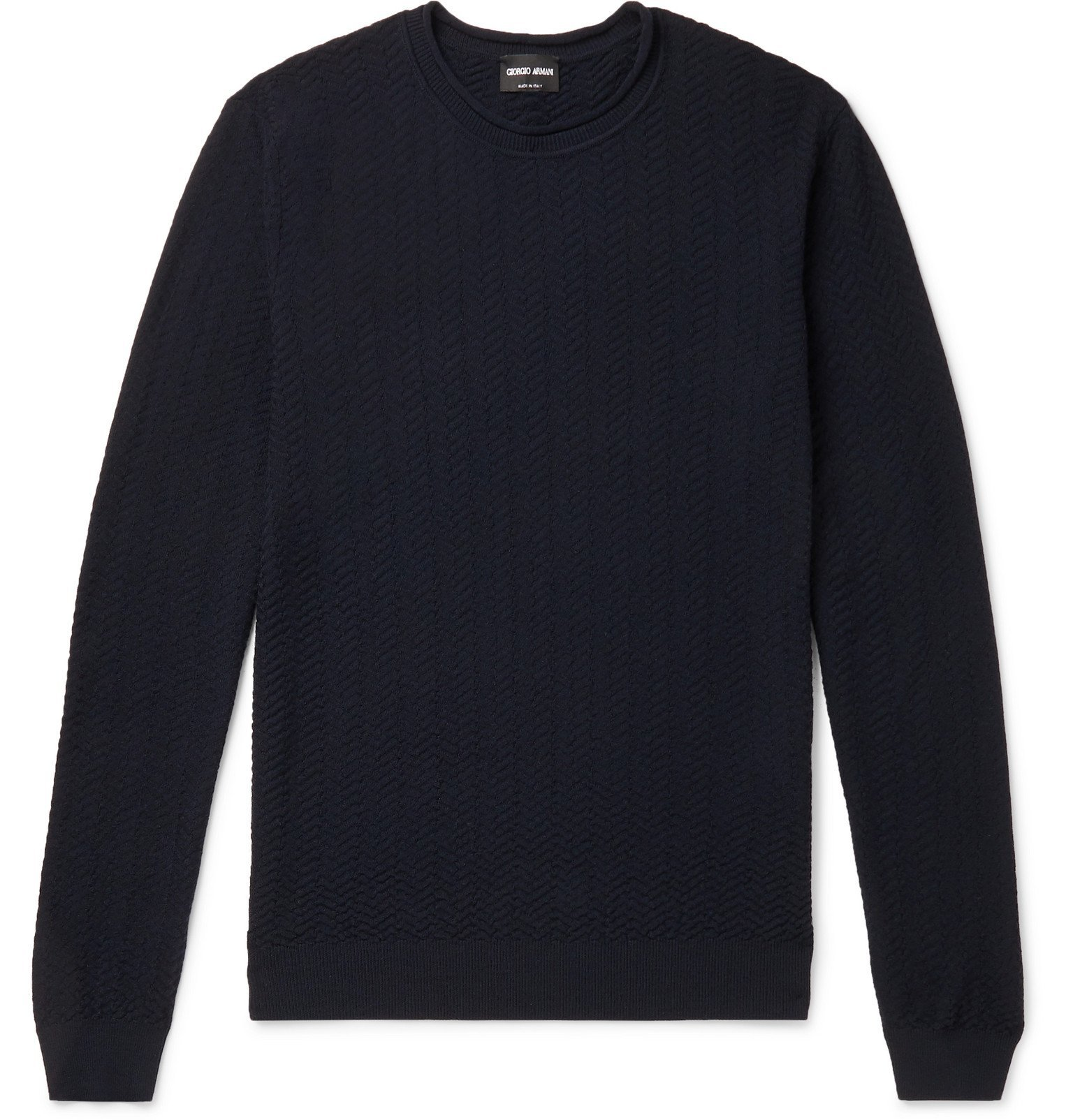 Giorgio Armani - Slim-Fit Quilted Virgin Wool-Blend Sweater - Blue