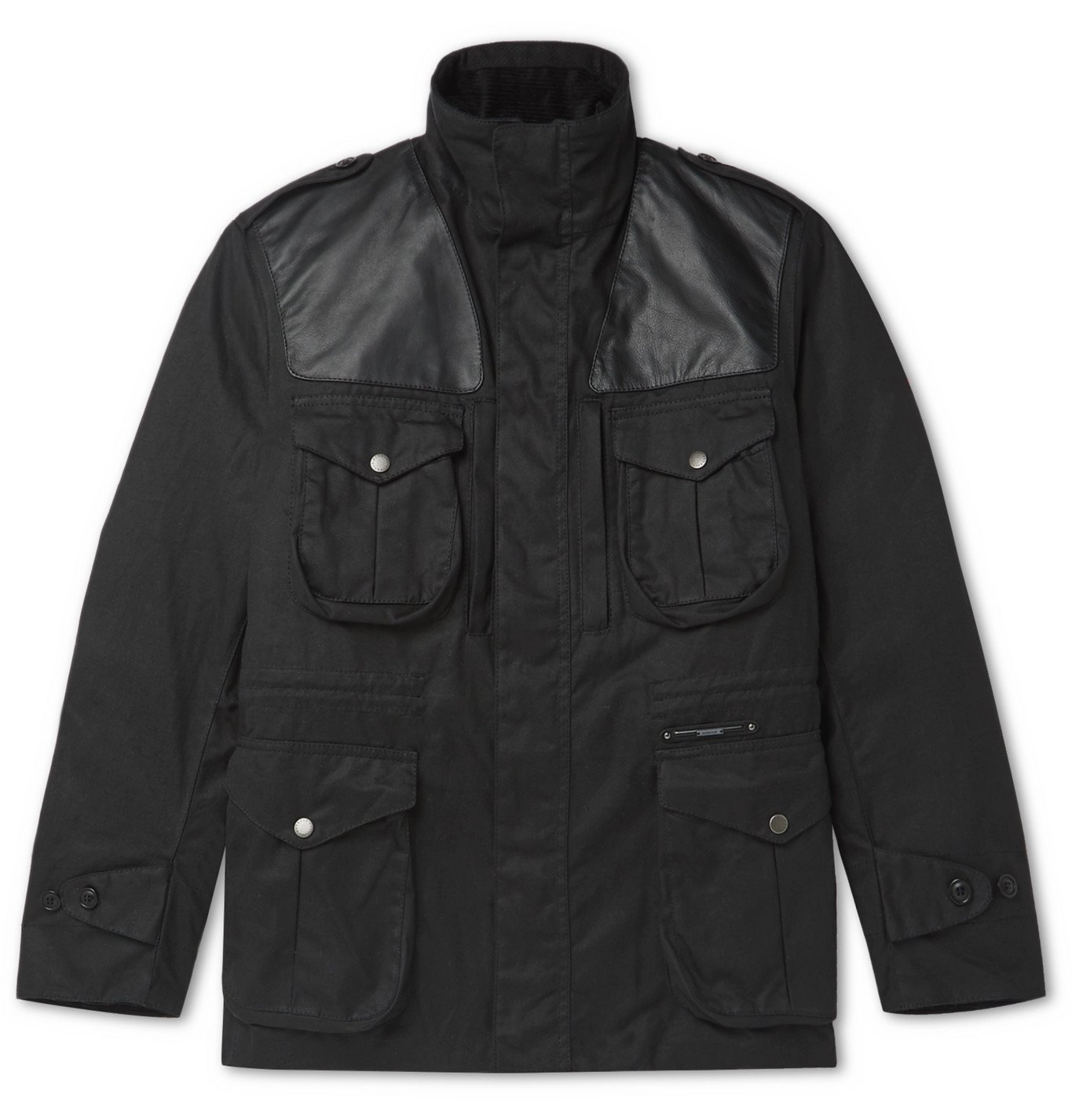 Photo: Barbour Gold Standard - Supa-Corbridge Leather-Trimmed Waxed-Cotton Jacket - Black