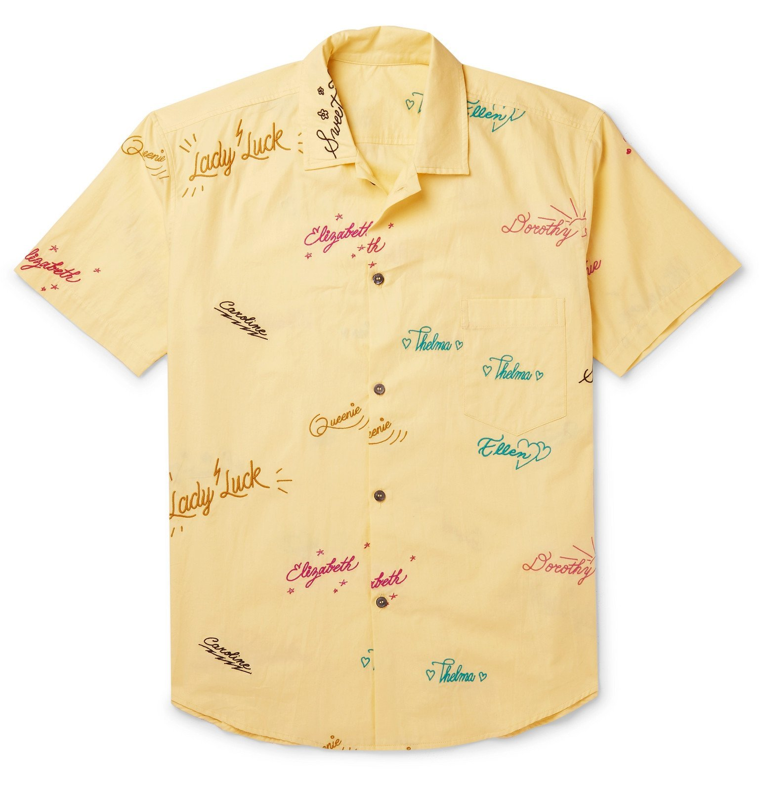 The Elder Statesman - Embroidered Cotton Shirt - Yellow