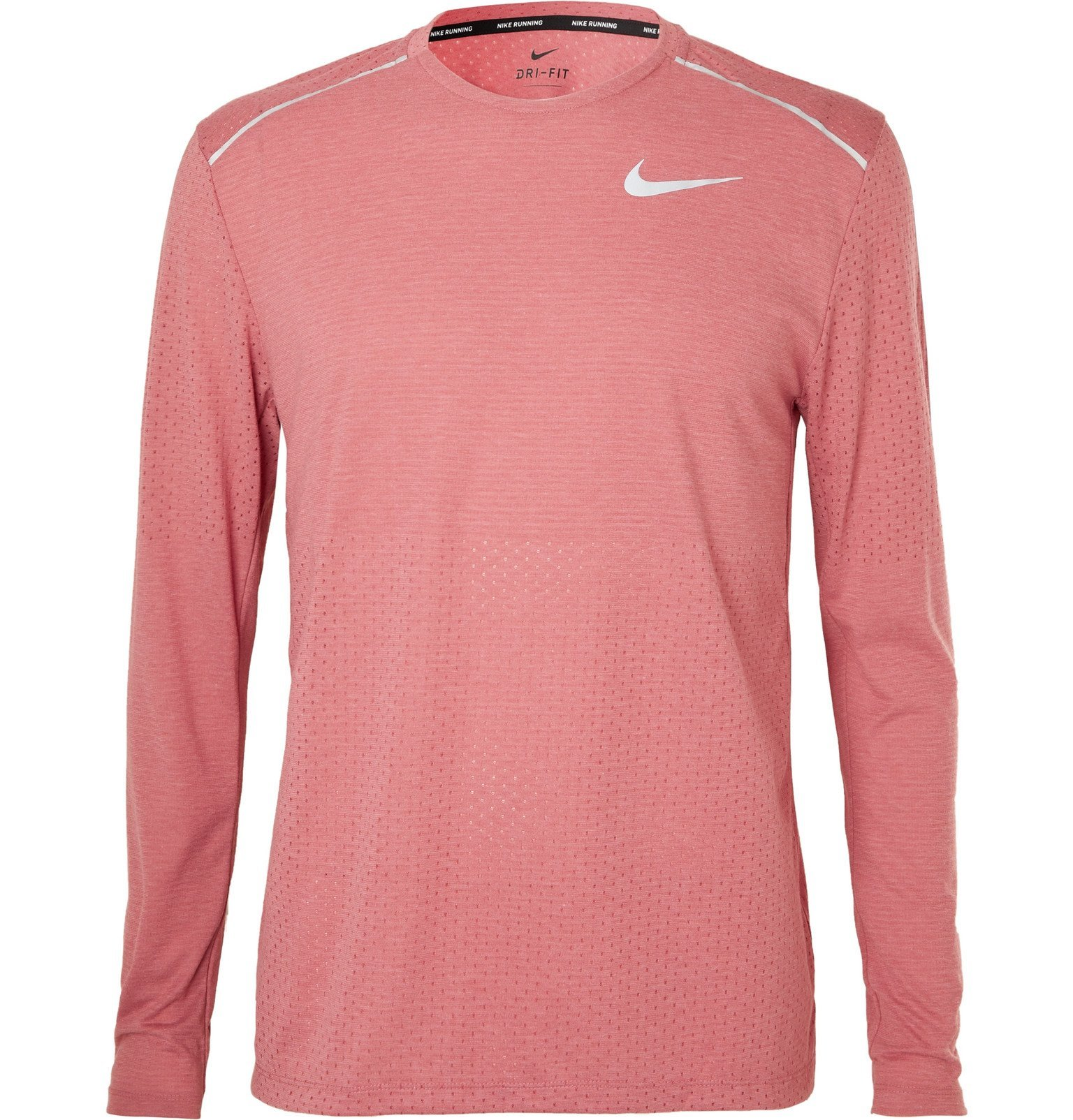 Nike Running - Breathe Rise 365 Perforated Mélange Dri-FIT T-Shirt - Pink