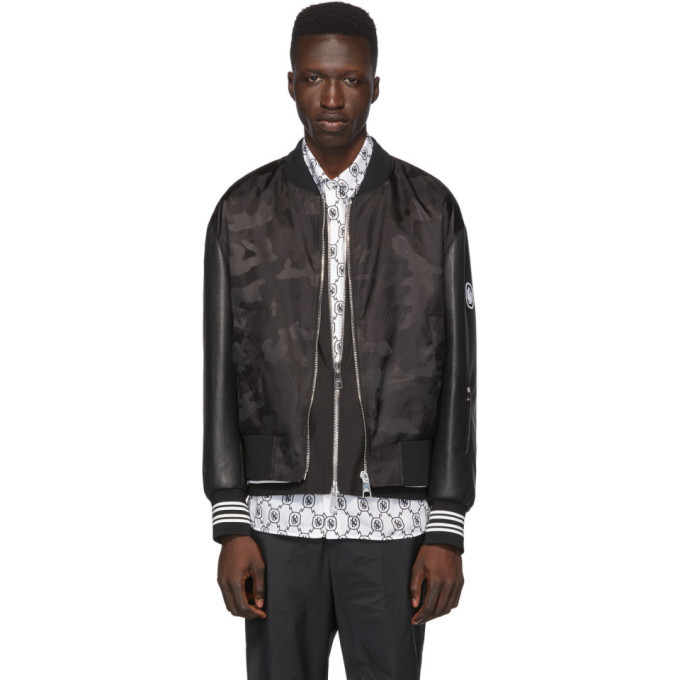 Photo: Neil Barrett Black Camo Bolt Vest Lining Bomber Jacket
