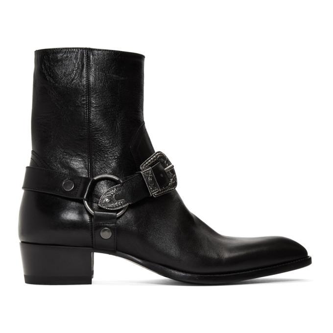 Photo: Saint Laurent Black Wyatt 40 Age Harness Boots