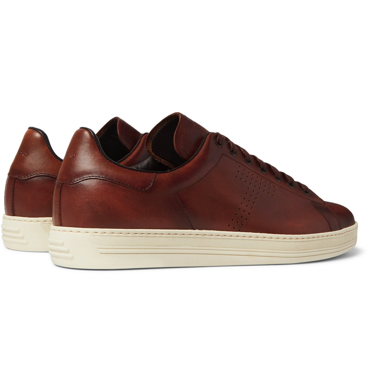 TOM FORD - Warwick Perforated Leather Sneakers - Brown