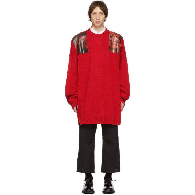 Photo: Raf Simons Red Oversized Patches Sweater