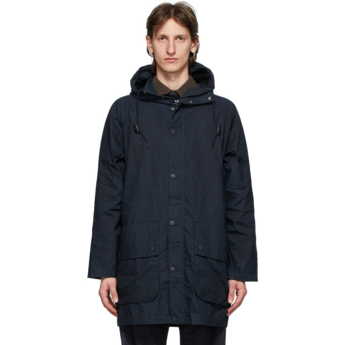 Photo: Barbour Navy Oversize Hooded Bedale Casual Coat