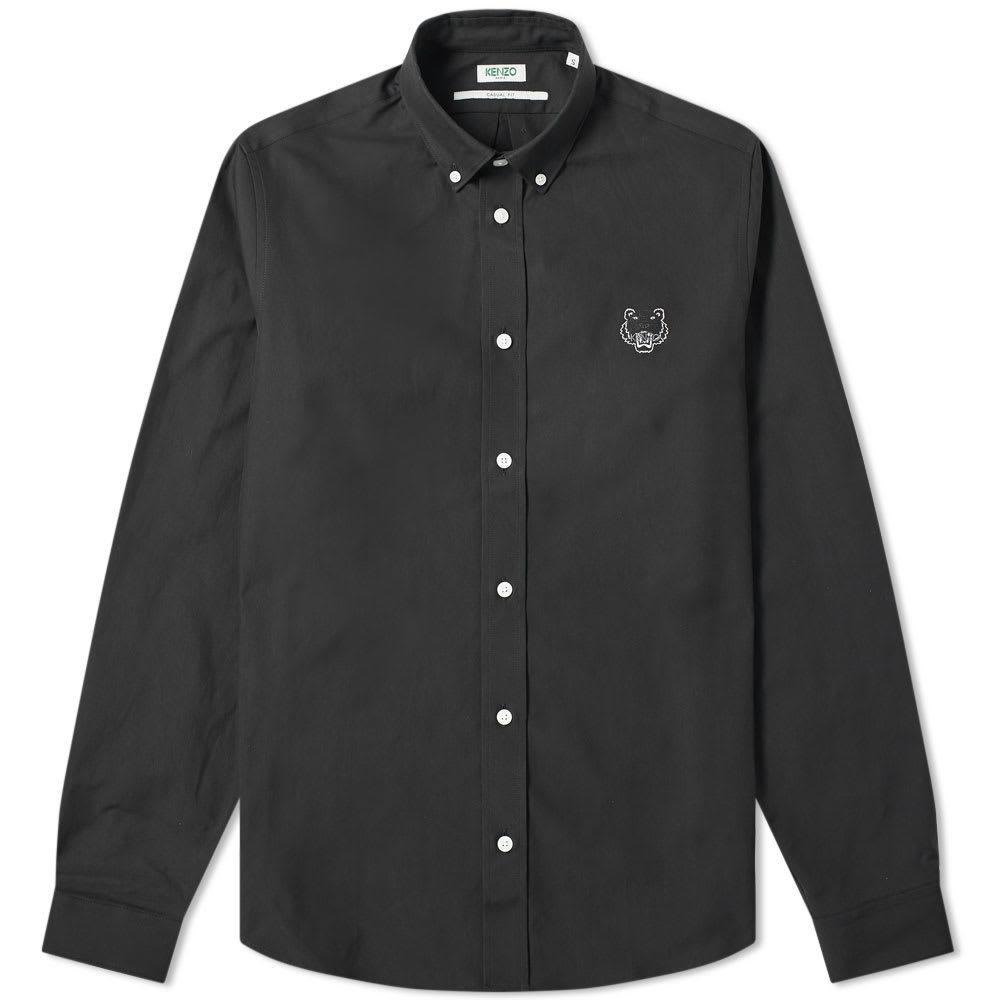 Photo: Kenzo Tiger Logo Twill Button Down Shirt Black