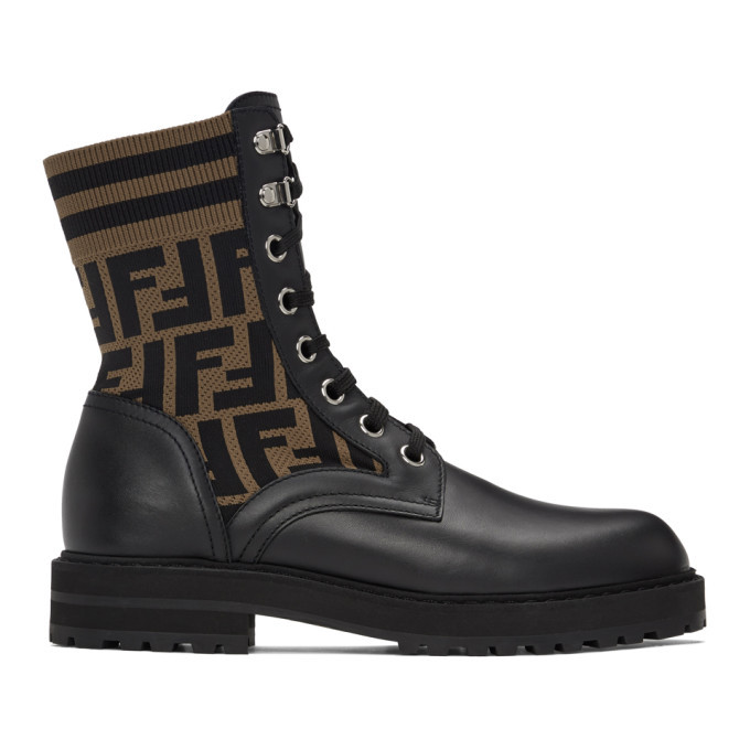 Photo: Fendi Black and Brown Forever Fendi Lace-Up Boots
