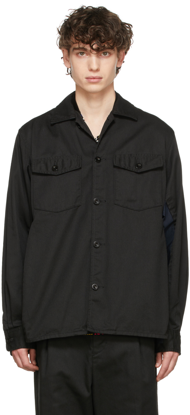 Photo: Sacai Black Chino & Grosgrain Shirt