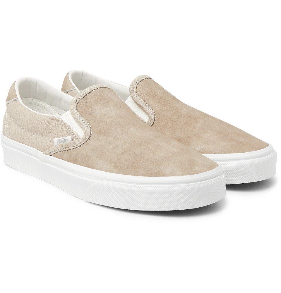 Photo: Vans - OG Classic LX Brushed-Nubuck Slip-On Sneakers - Beige