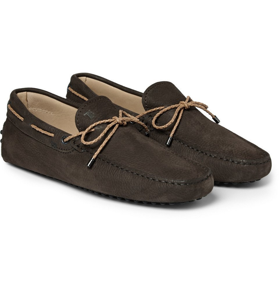 Tod's - Gommino Nubuck Leather Driving Shoes - Men - Chocolate