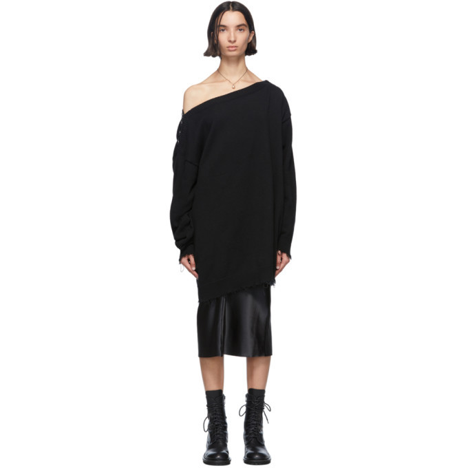 Photo: Ann Demeulemeester Black Knit Off-The-Shoulder Sweater