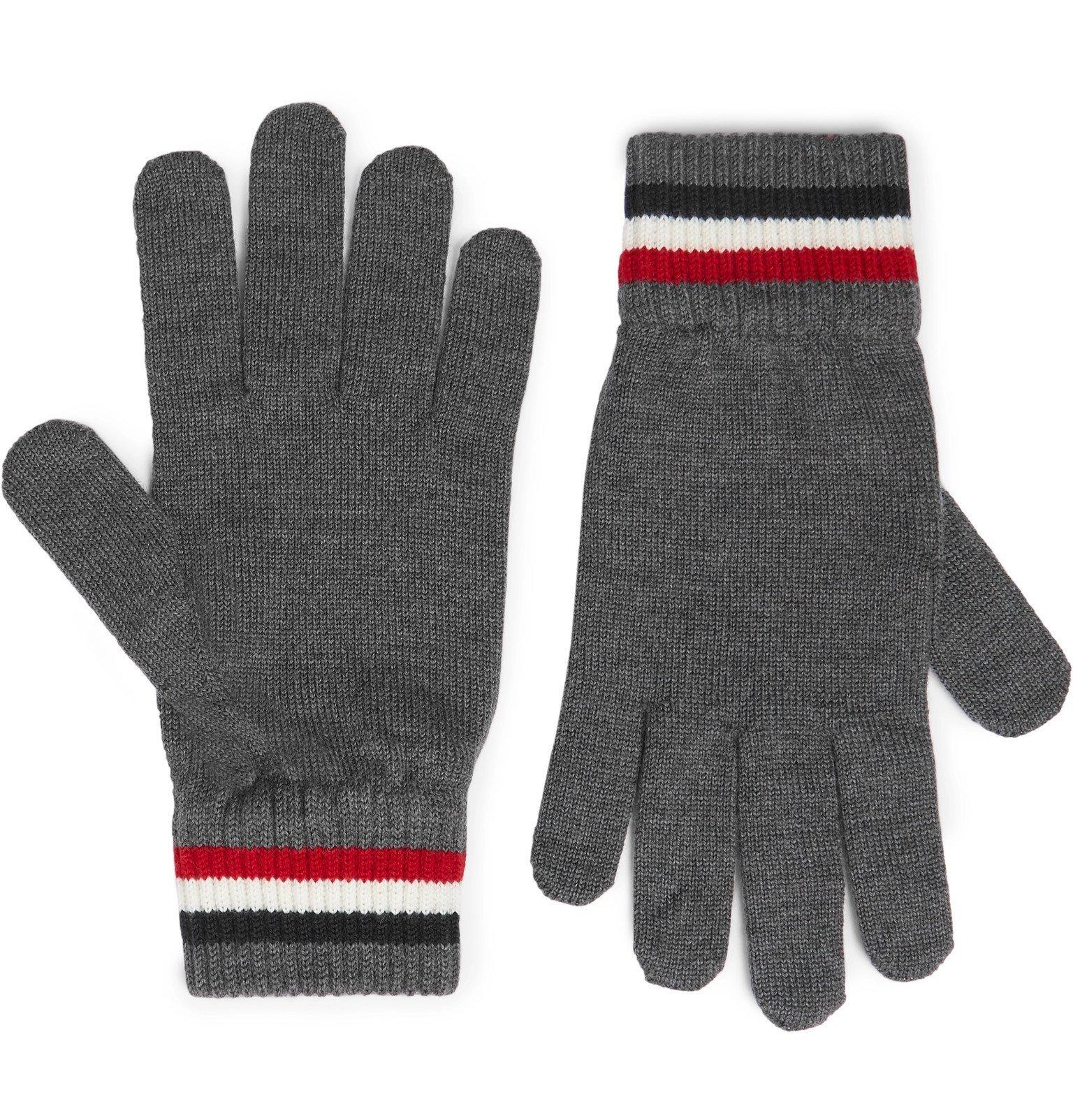 Photo: Moncler - Logo-Appliquéd Virgin Wool Gloves - Gray
