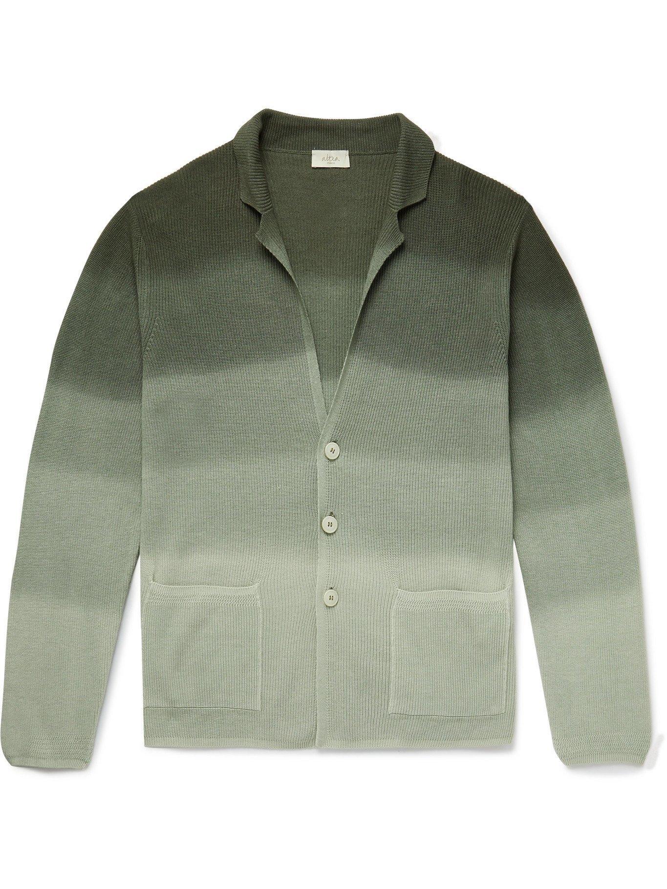 Photo: ALTEA - Dégradé Linen and Cotton-Blend Cardigan - Green