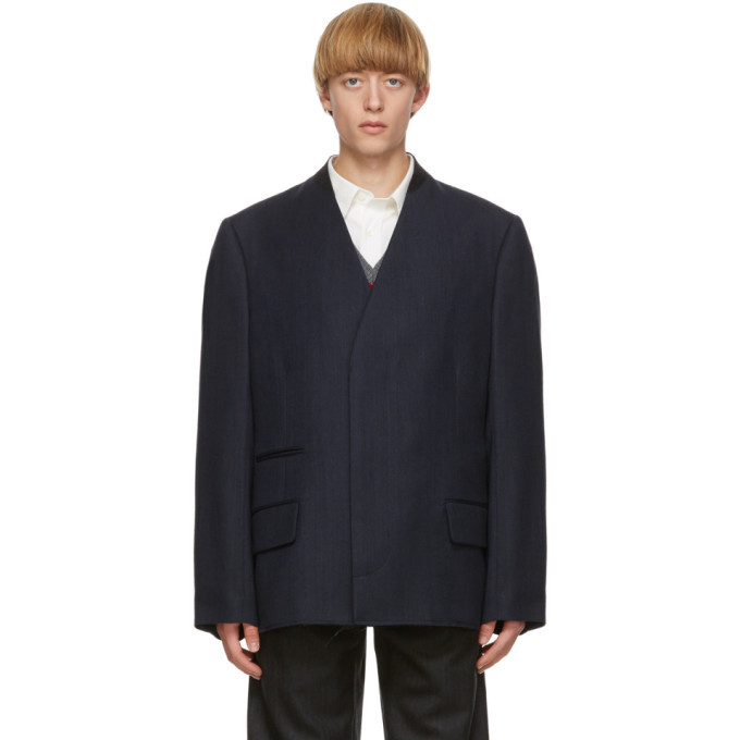 Photo: Maison Margiela Navy Wool Covert Blazer