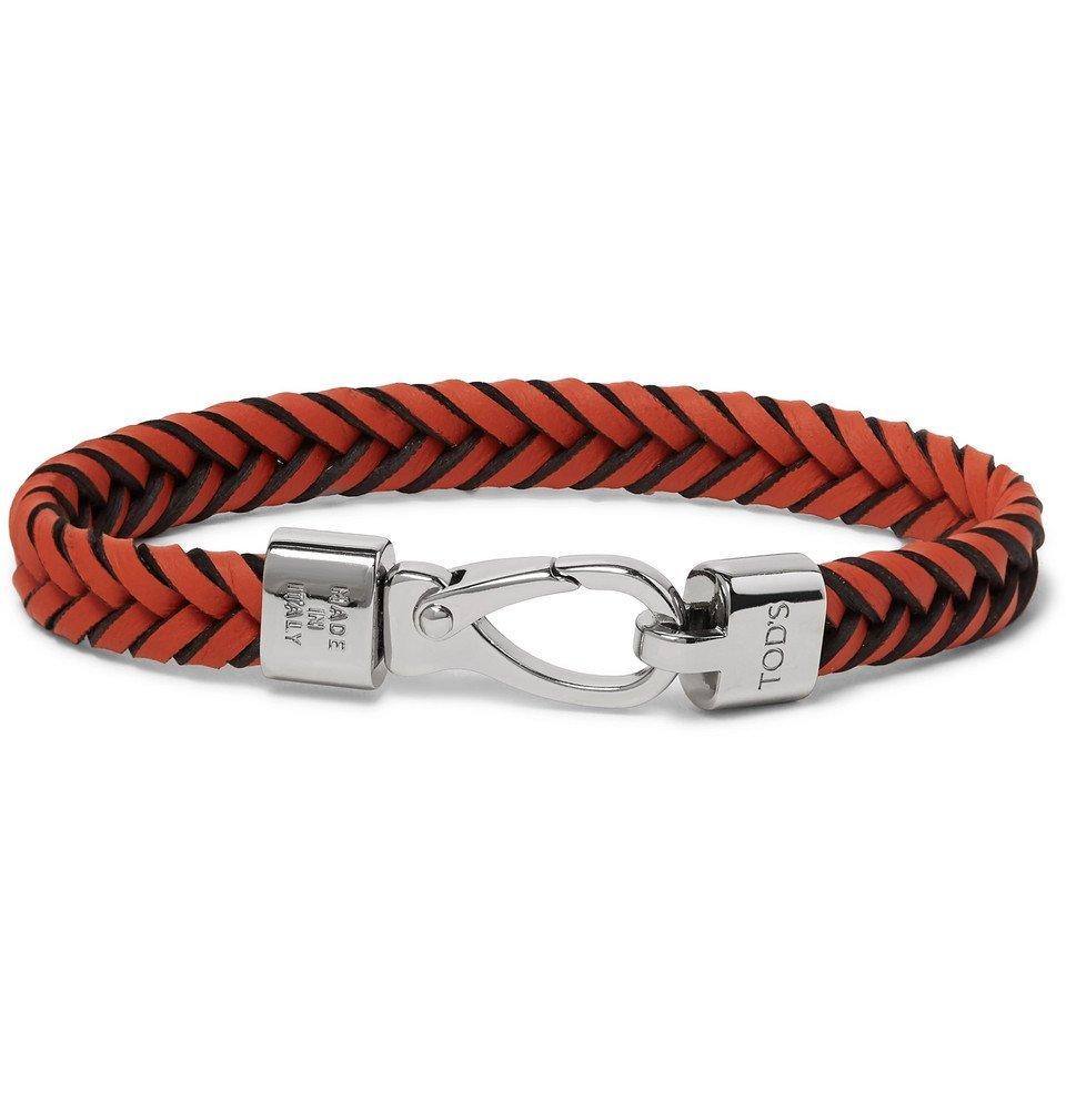Tod's - Woven Leather and Silver-Tone Bracelet - Men - Orange
