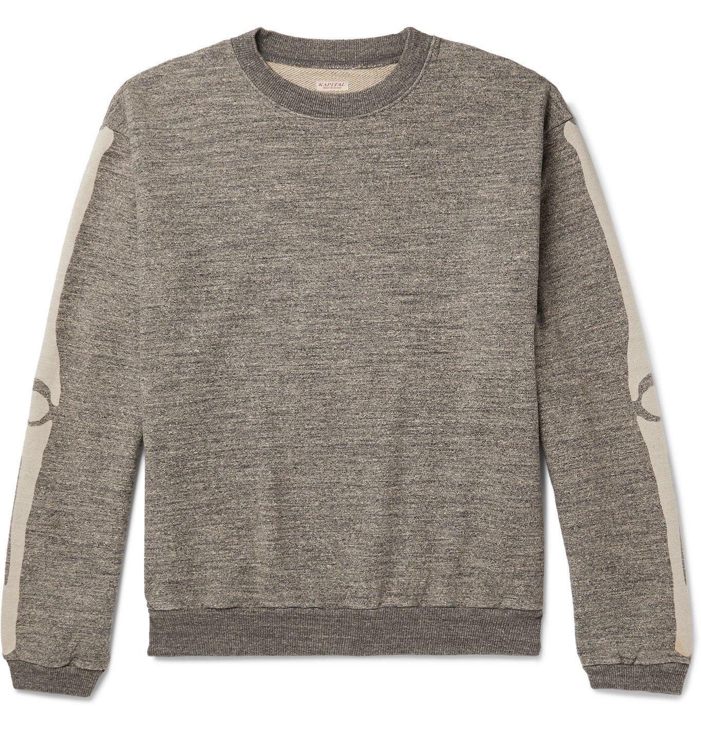 KAPITAL - Oversized Printed Mélange Loopback Cotton-Jersey Sweatshirt - Gray