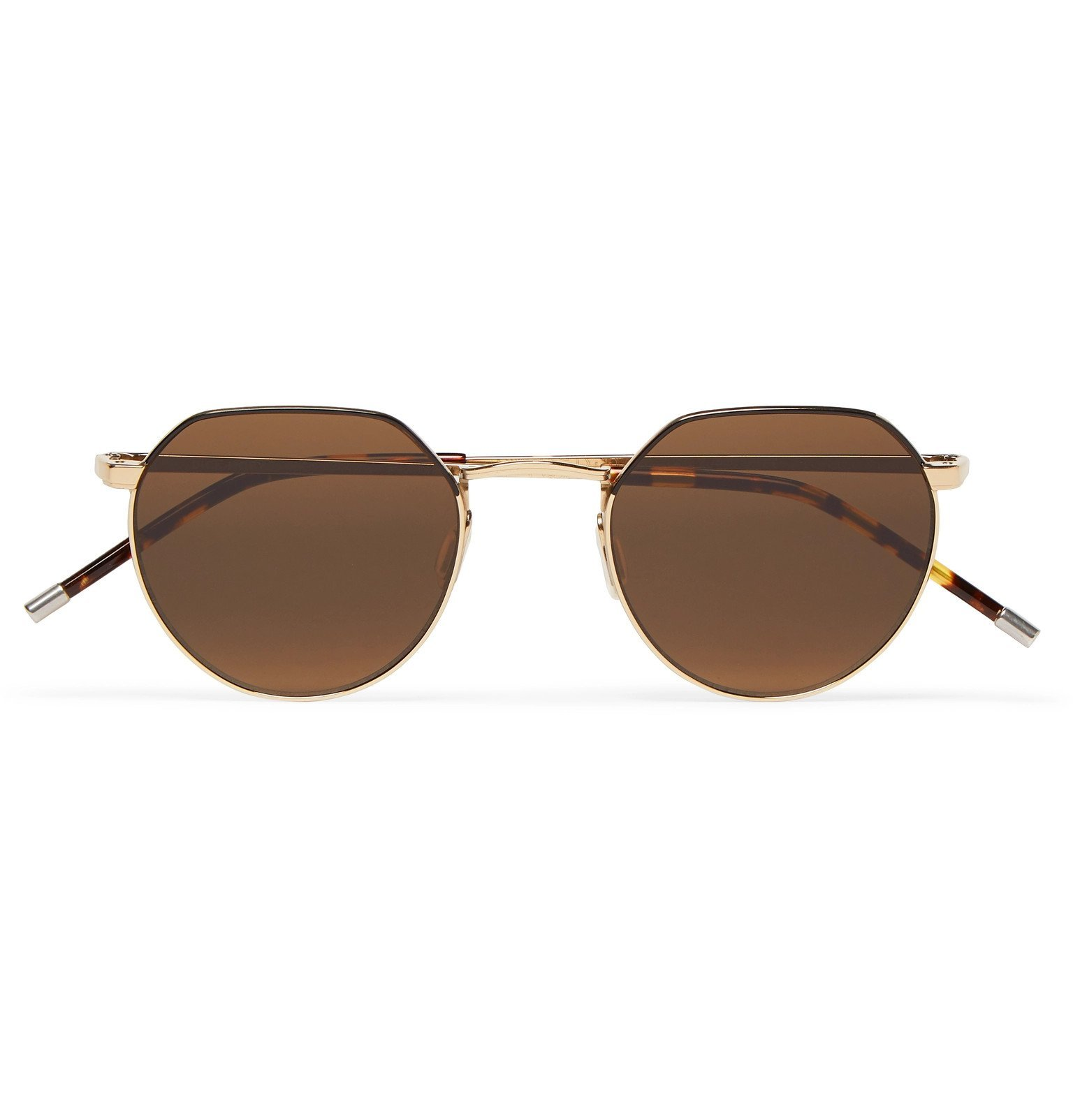 Photo: Dick Moby - Agadir Round-Frame Silver-Tone Sunglasses - Gold
