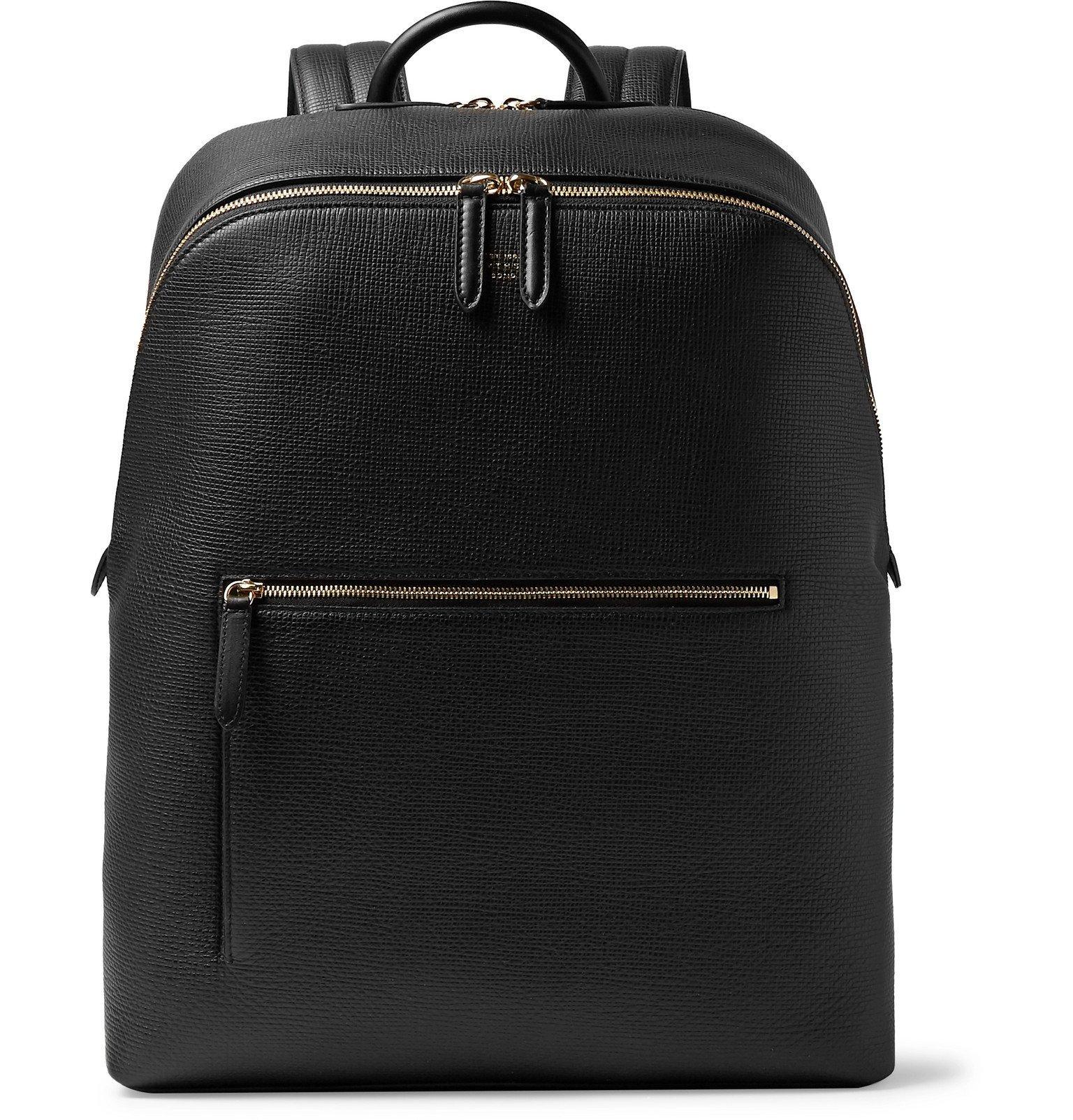 Smythson - Panama Cross-Grain Leather Backpack - Black