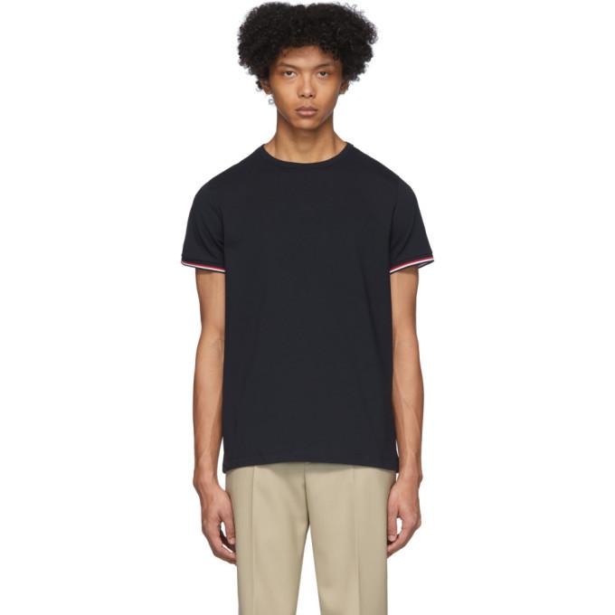 Moncler Navy Striped Cuffs T-Shirt