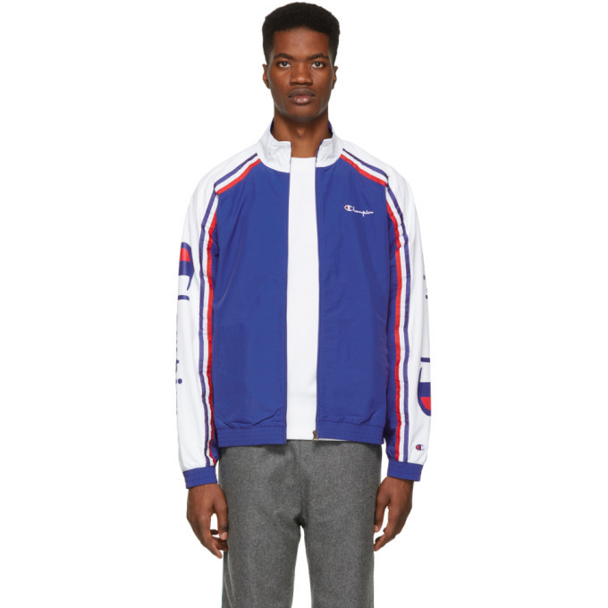 Photo: Champion Reverse Weave Blue and White Striped Zip Track Jacket