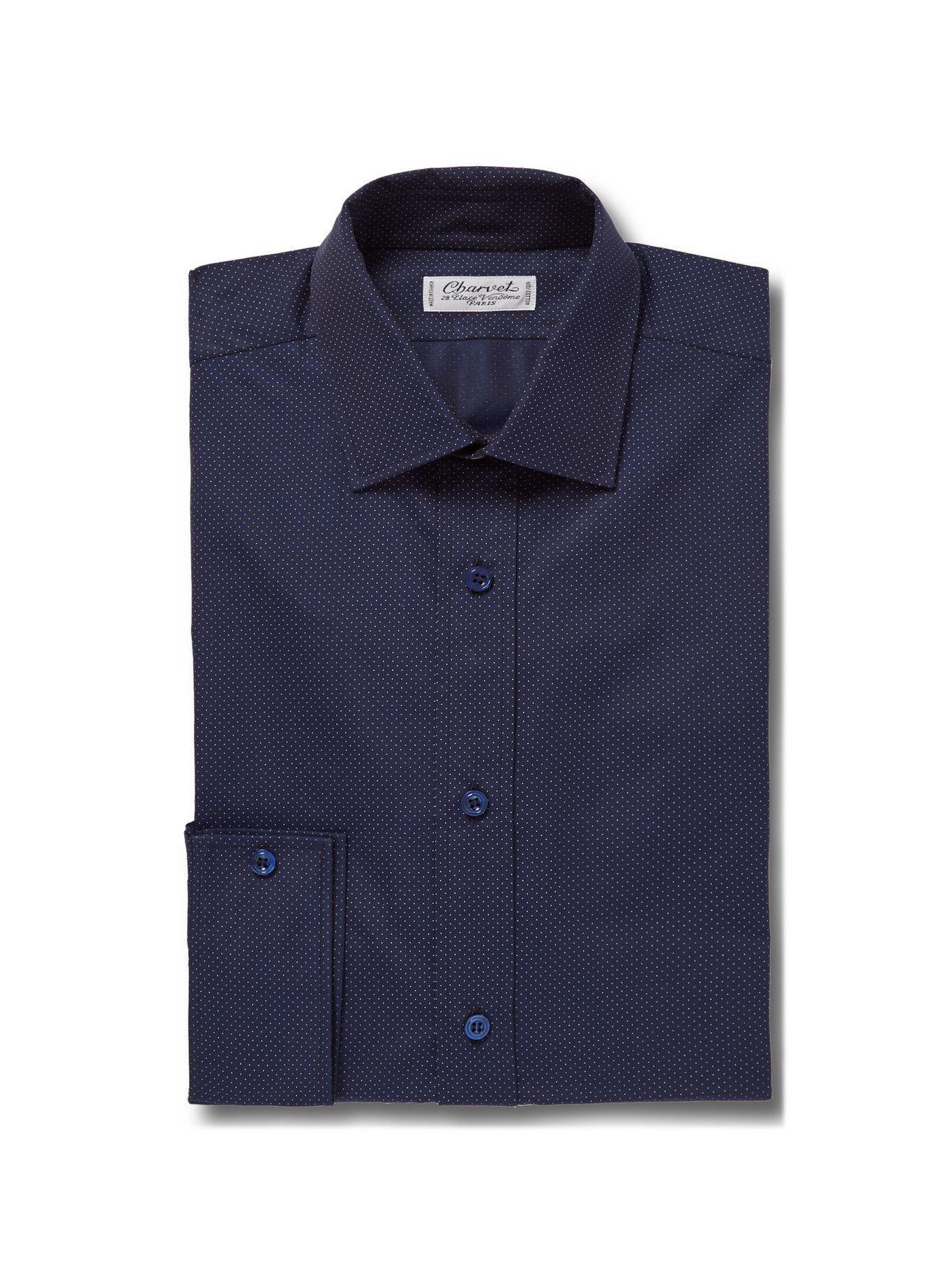 Photo: CHARVET - Blue Slim-Fit Pin-Dot Cotton Shirt - Blue