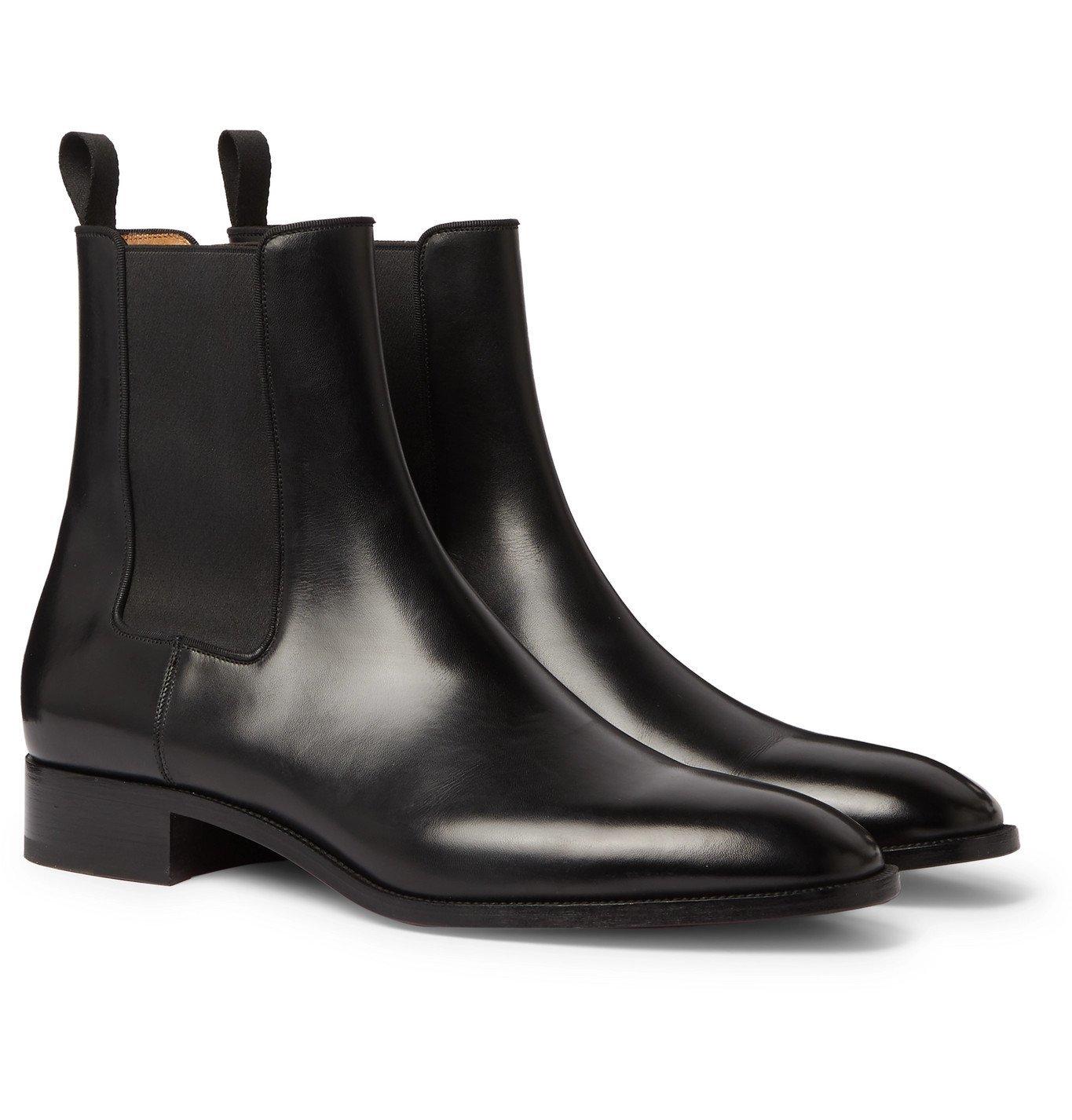 Photo: Christian Louboutin - Polished-Leather Chelsea Boots - Black