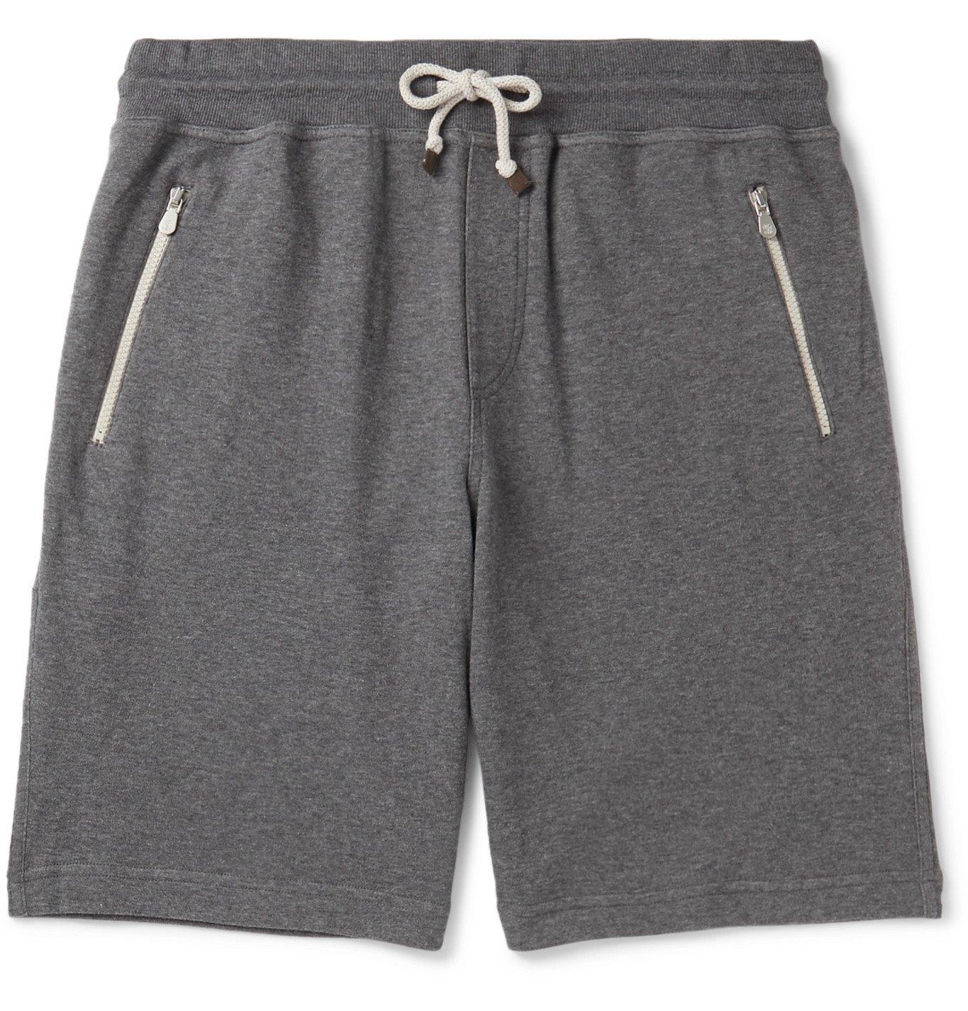 Photo: Brunello Cucinelli - Mélange Cotton-Blend Jersey Drawstring Shorts - Gray