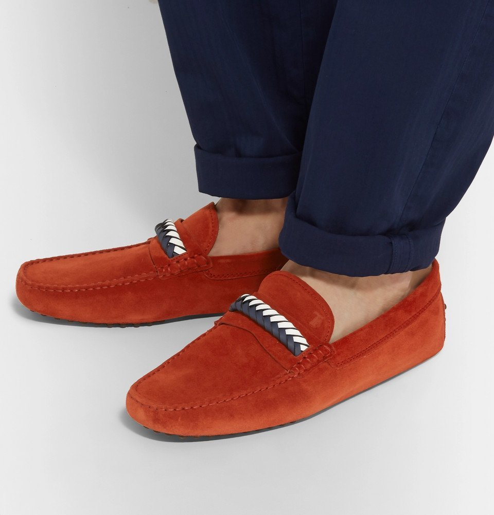 Tod's - Gommino Leather-Trimmed Suede Driving Shoes - Men - Tomato red