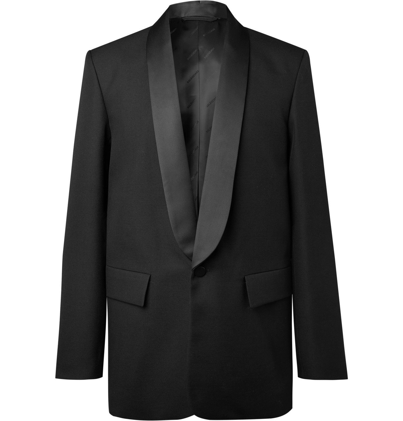 Photo: Balenciaga - Shawl-Collar Satin-Trimmed Wool-Twill Tuxedo Jacket - Black