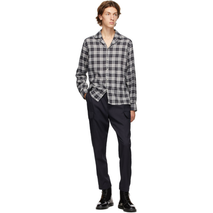 Officine Generale Black and Grey Dario Piping Check Shirt