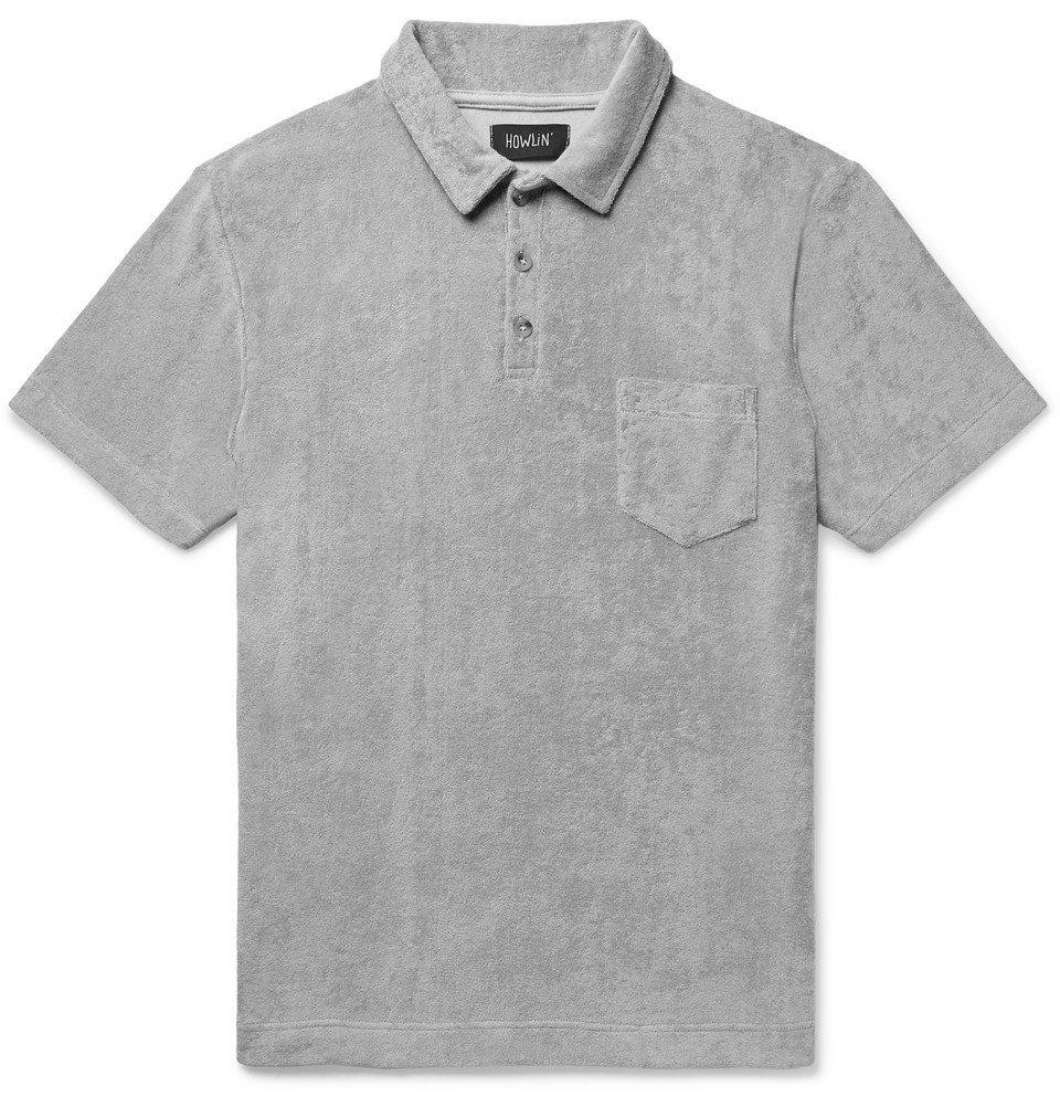 Photo: Howlin' - Mr Fantasy Cotton-Blend Terry Polo Shirt - Gray