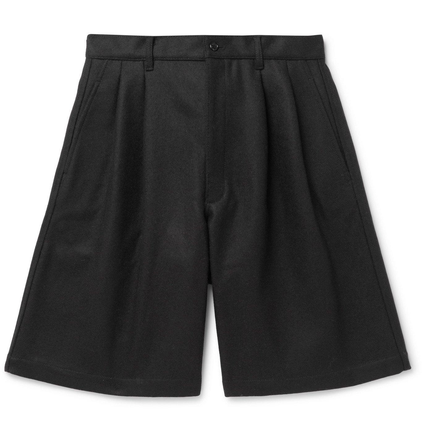 Photo: Comme des Garçons SHIRT - Wide-Leg Pleated Wool Shorts - Black