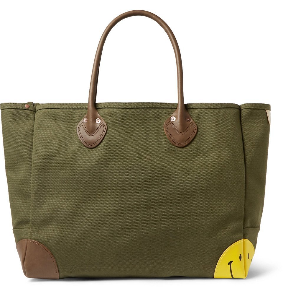 Photo: KAPITAL - Leather-Trimmed Cotton-Canvas Tote Bag - Green