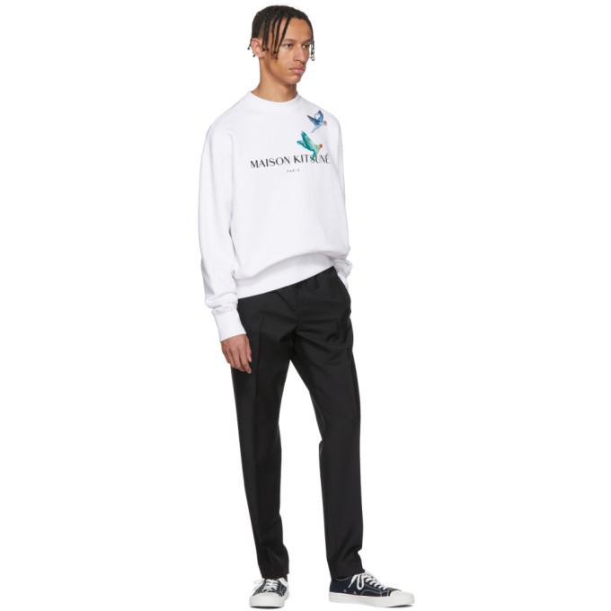 Maison Kitsune White Lovebirds Sweatshirt