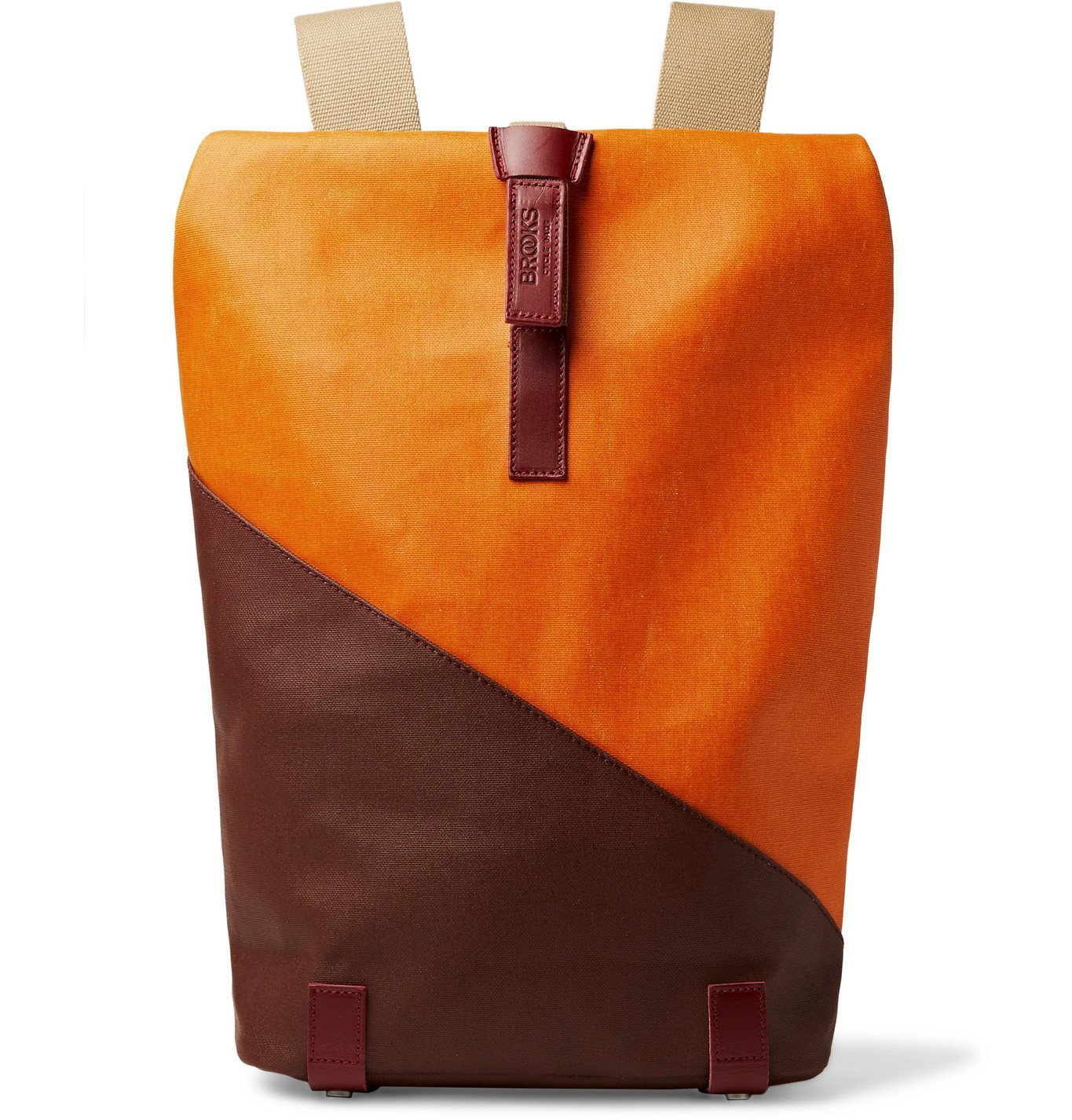 Photo: Brooks England - Pickwick Small Leather-Trimmed Patchwork Coated Cotton-Canvas Backpack - Orange