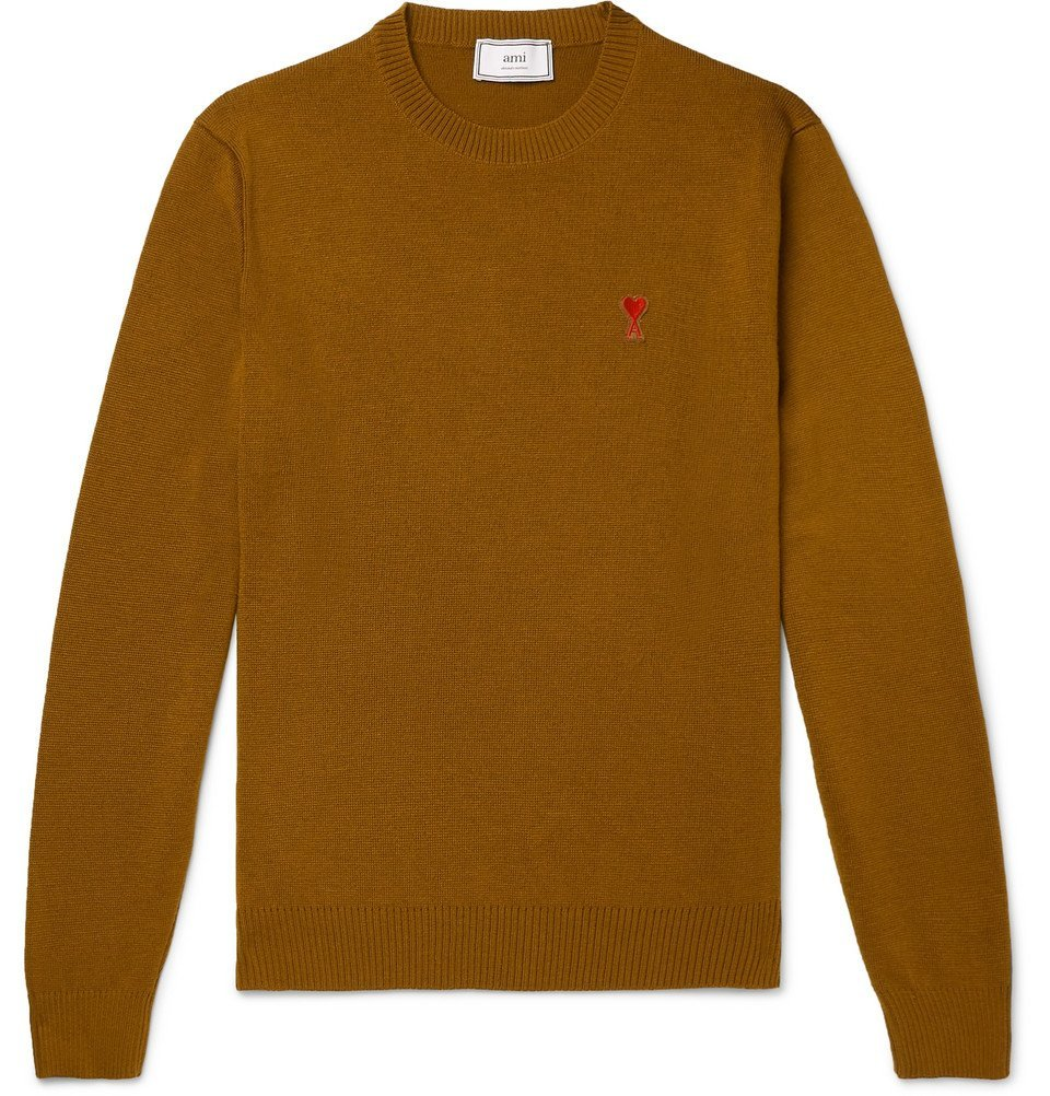 Photo: AMI - Logo-Appliquéd Merino Wool Sweater - Brown