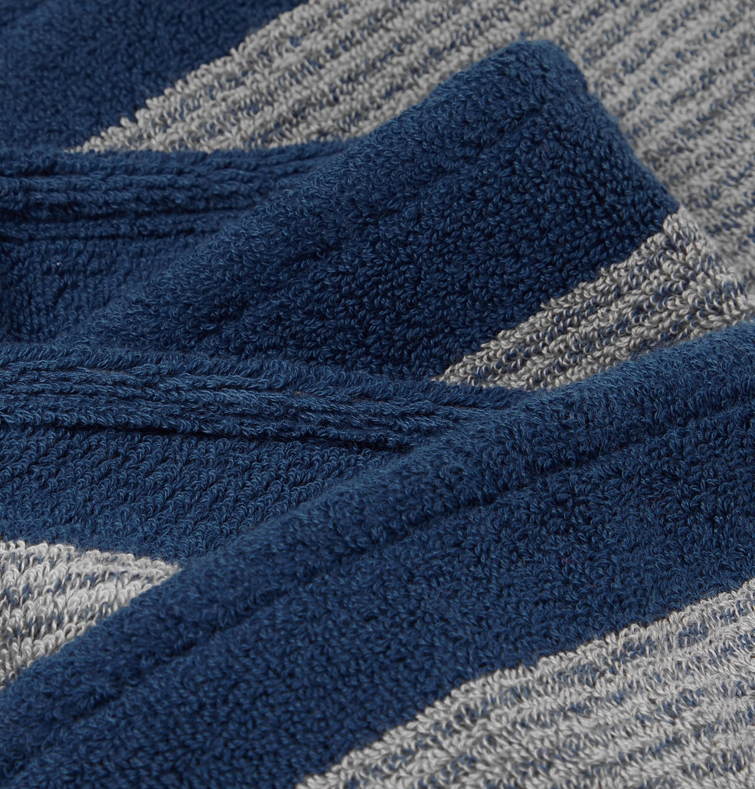 Cleverly Laundry - Set of Three Striped Cotton-Terry Bath Towels - Blue