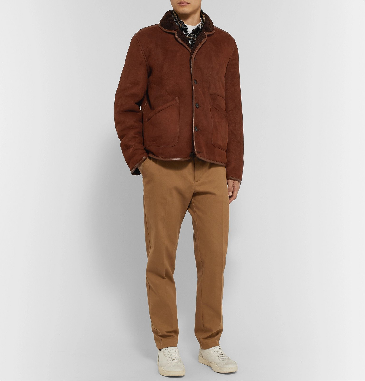 YMC - Leather-Trimmed Shearling Jacket - Brown