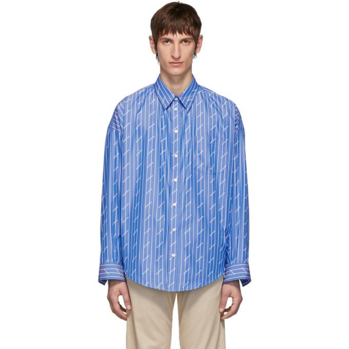 Photo: Balenciaga Blue All Over Logo Cocoon Shirt